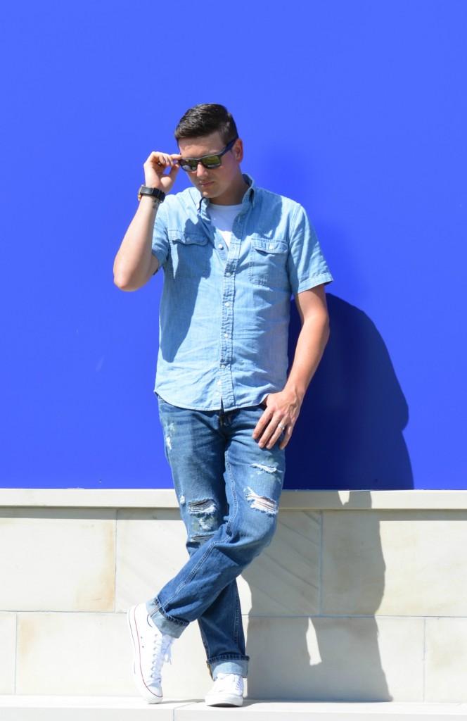 Canadian Tuxedo, Denim on Denim, Denim, collared shirt, blue tee