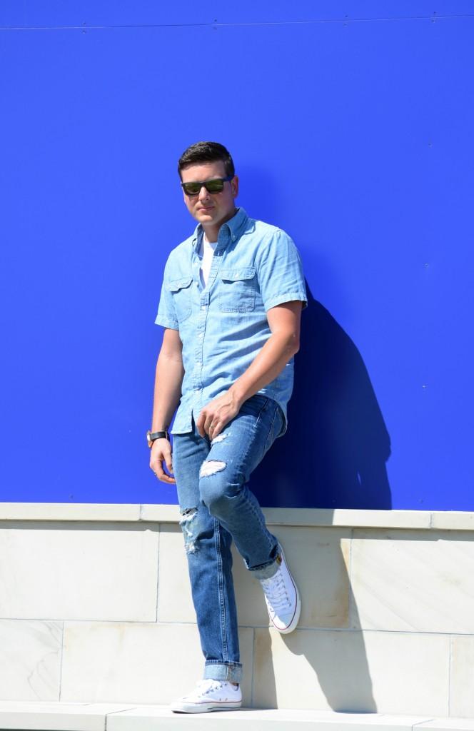 American Eagle, Boyfriend Jeans, Ripped Denim, Cutout Jeans, Jeans, Blue Denim