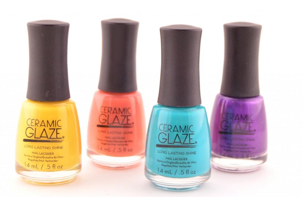Ceramic Glaze, China Glaze, Nail Polish, Nail Art, Polish, Bright Blue, Yellow polish, purple nail polish