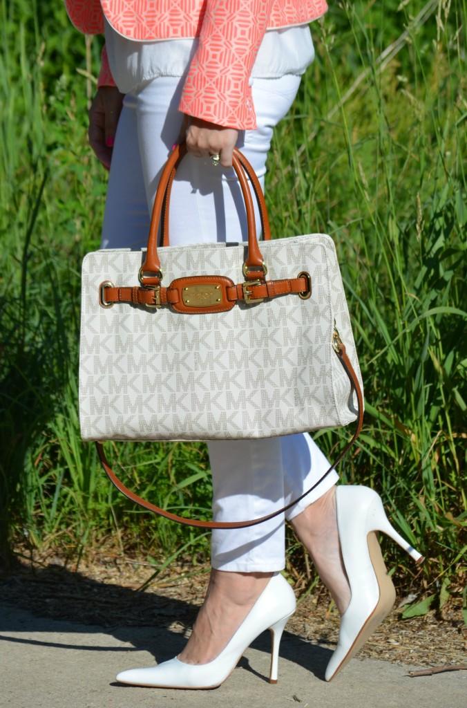 Michael Kors Handbag, White Silk Top, White Blouse, White Jeans, White Pumps
