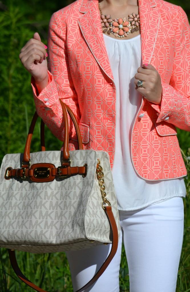 OPI, Nail Polish, OPI Nail Polish, coral necklace, bling, huge ring, white top