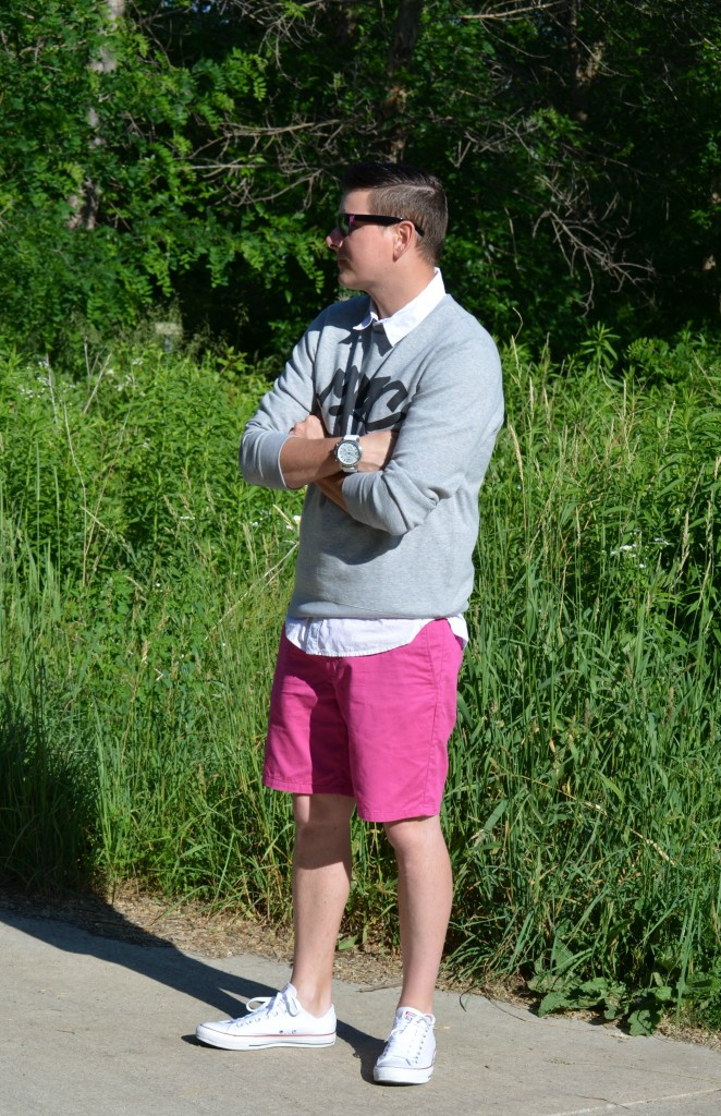 Marc Jacob Sweater, White Dress Shirt, RW & Co, Pink Shorts, H&M, Sneakers, Converse