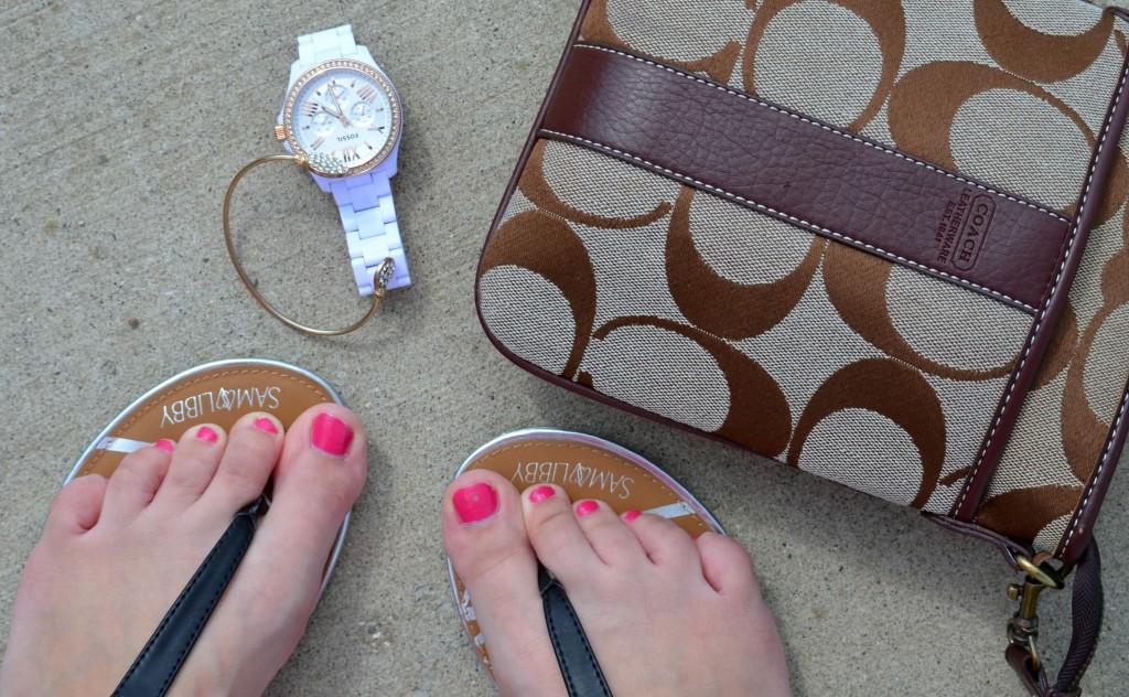 Target, Sandals, Target Sandals, OPI Pink Nail Polish, OPI Polish, Coach Purse, Fossil Watch, Gold Bracelet