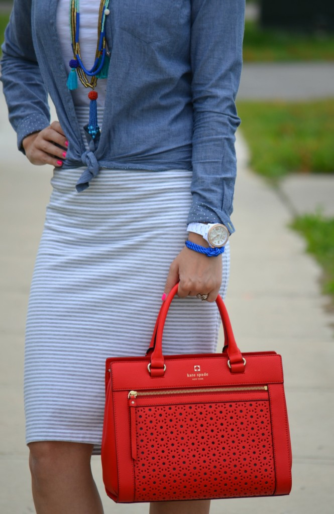 Smart Set Tee, Loft Necklace, Kate Spade Handbag, Aldo Wedges, Wedges, Midi Skirt, shoes