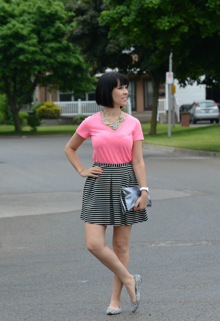 Mixing Prints. Pink, Tee, T-Shirt, Top, V-Neck, Summer tee, short sleeve, comfy