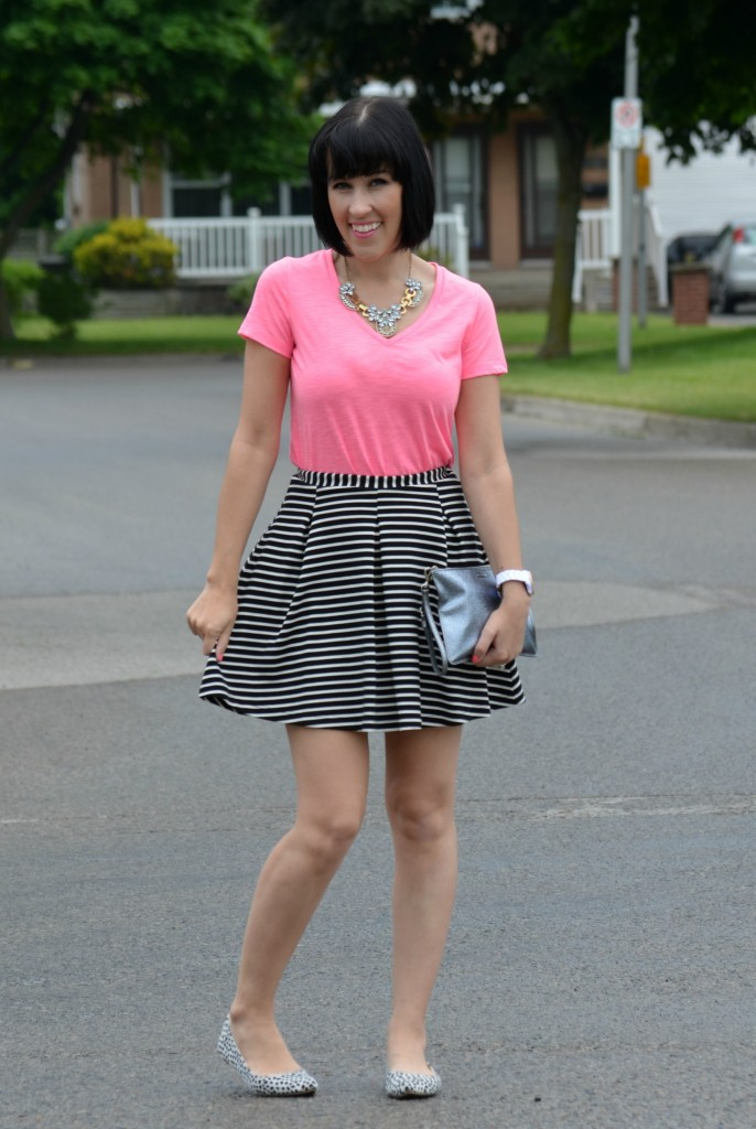 Mixing Prints, Black and White, Stripe, Stripped, print, bold, skater, skirt, A- Line