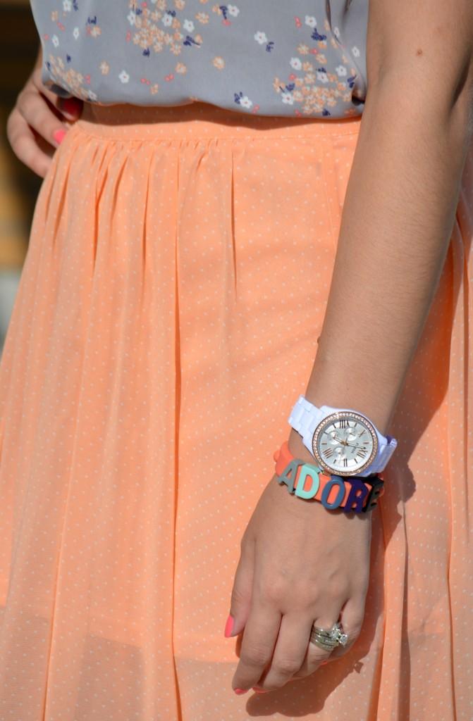 Watch, Fossil, White Watch, Rose Gold, Floral Print, Dress Shirt, Tee, Peach Skirt