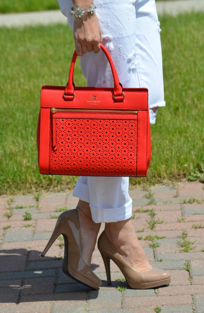 Peter Pilotto, clear bracelet, red purse, kate spade handbag, white boyfriend jeans, ripped jeans, denim
