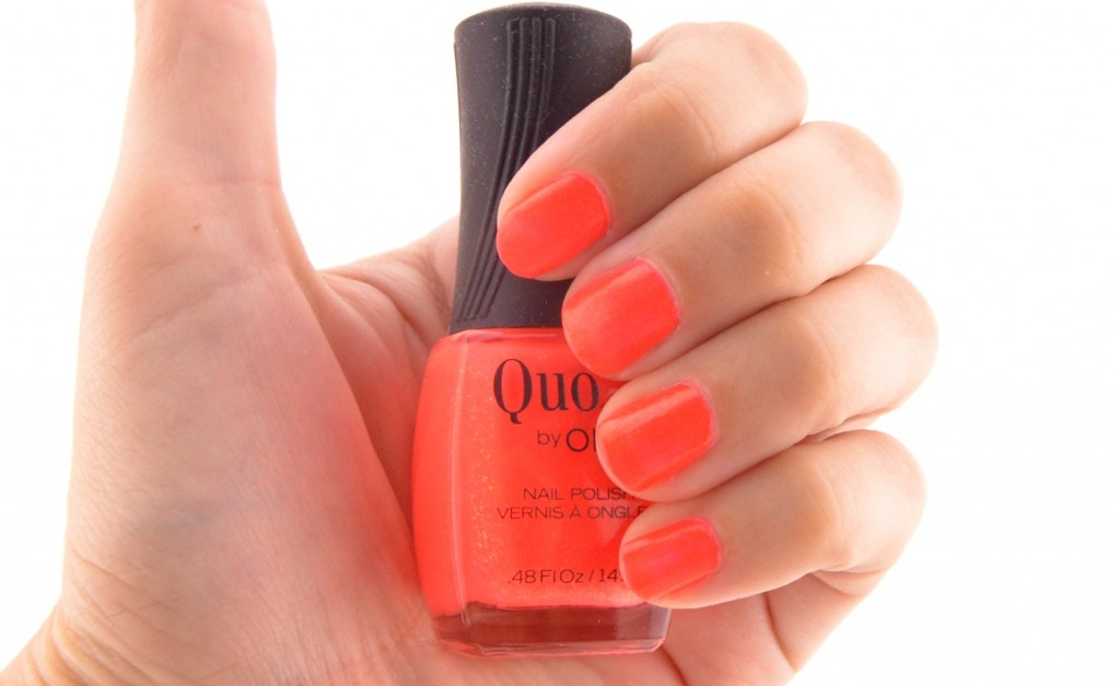 Quo by Orly in Heatwave, neon, bright orange, shimmery, sparkle, nail polish, shoppers
