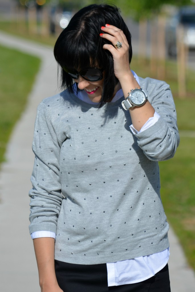 Fossil Watch, Fossil, White watch, boyfriend style, short hair, bob cut, hairstyle, hair cut, large sunglsses, sunnies, black frames