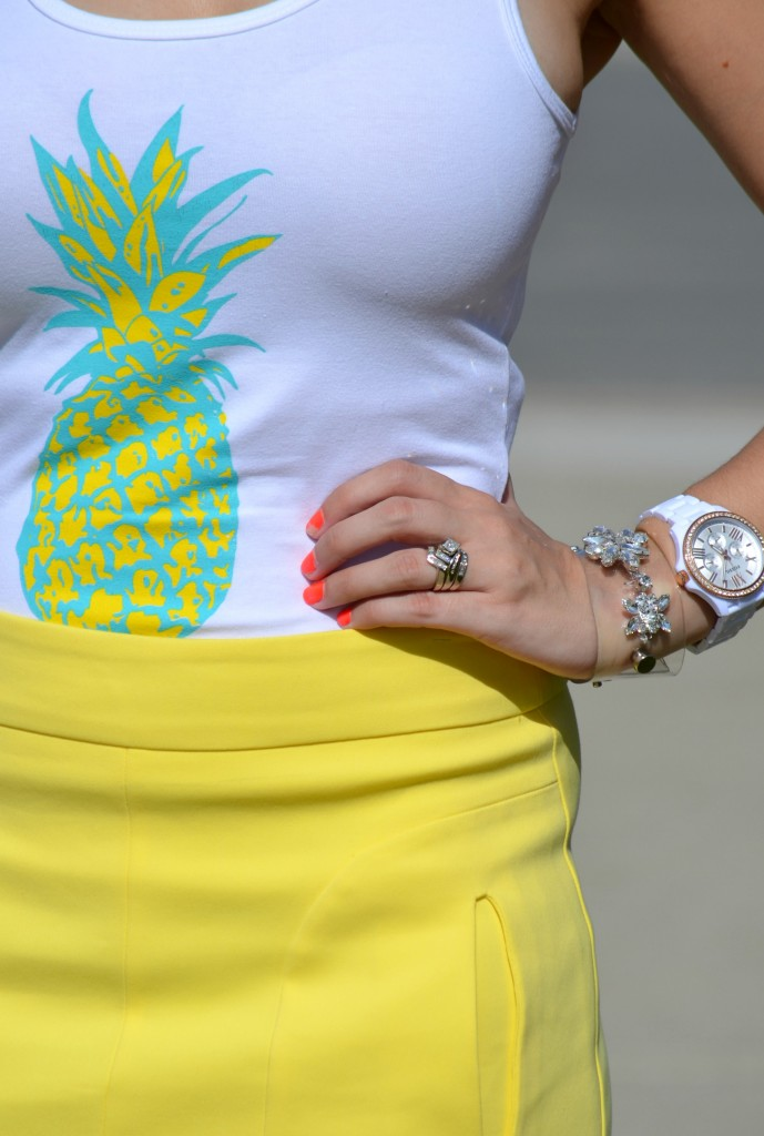 Style Lately, Fosill, Watch, Bracelet, Jewlz from Linever, crystal, bling, yellow pineapple