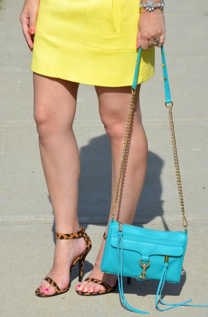 Zara, Yellow Skirt, Bright mini, mini skirt, zara skirt, rebecca minkoff, teal purse, handbag
