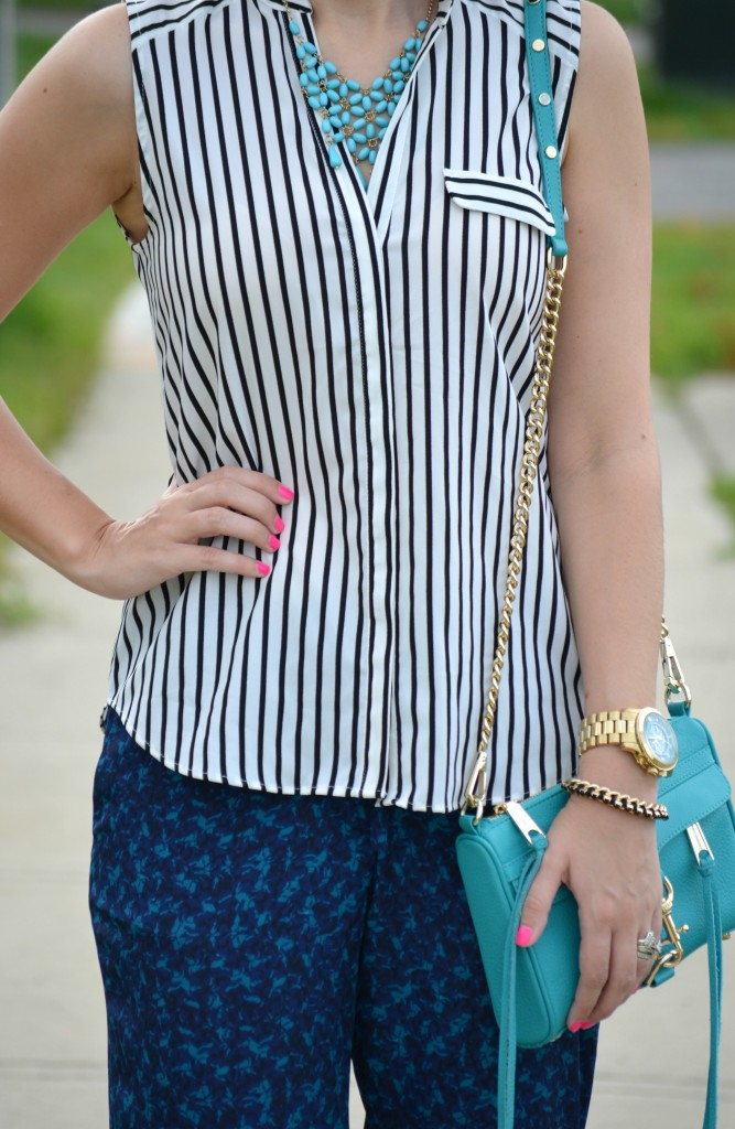 H&M, Striped Blouse, H&M Top, Rebecca Minkoff purse, handbag, Michael Kors Watch, Watch, Smart Set, Bracelet