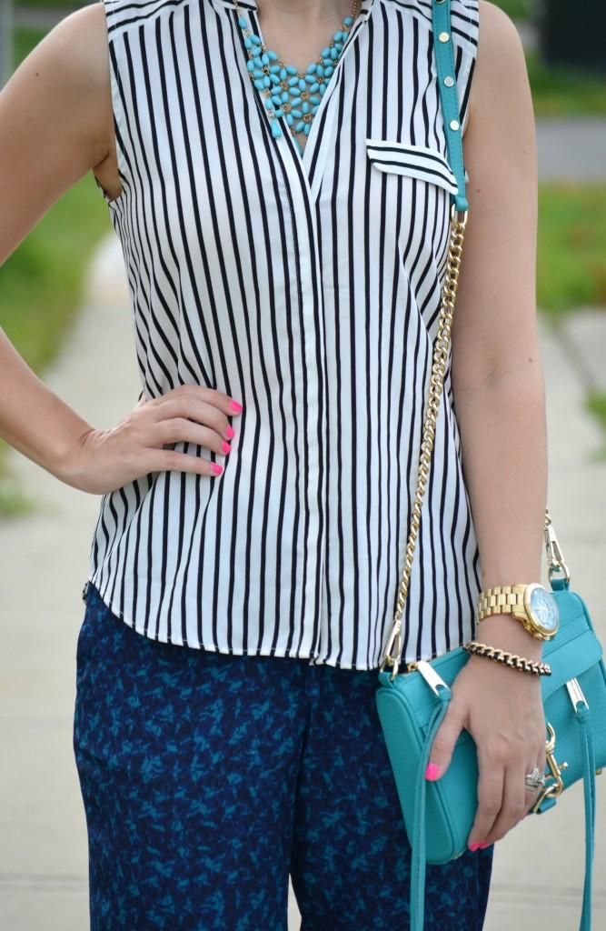 H&M, Striped Blouse, H&M Top, Rebecca Minkoff purse, handbag, Michael Kors Watch, Watch, Smart Set, Bracelet