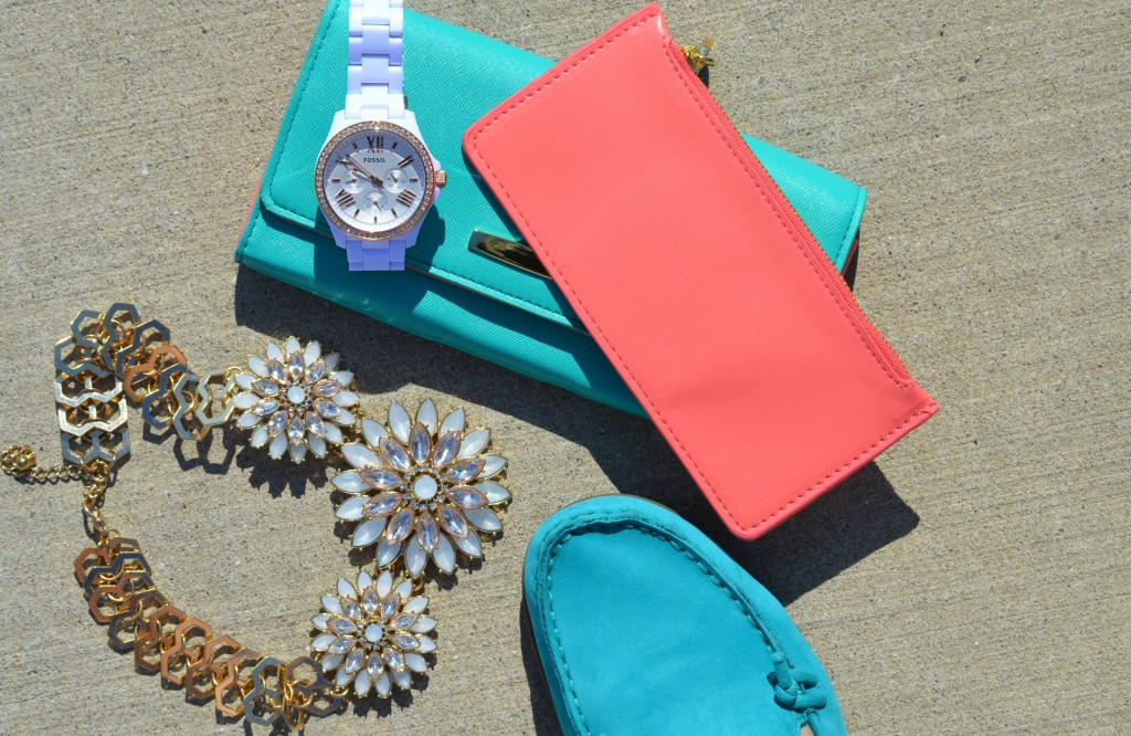 Hush Puppies, Fossil Watch, Avon Wallet, Pink Clutch, White Watch, Statement Necklace, Teal Shoes