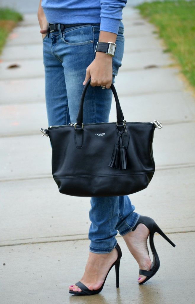 Coach Purse, Black Handbag, Coach, Guess Watch, Black Watch, Boyfriend Jeans, Skinny Jeans, The Gap, Blue Sweater