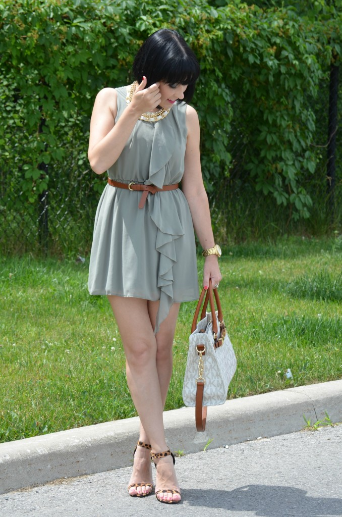 Olive Green Dress, H&M, H&M Dress, Necklace, Cocoa Jewelry, Michael Kors Purse, Belt, Smart Set, Michael Kors Watch, Sandals