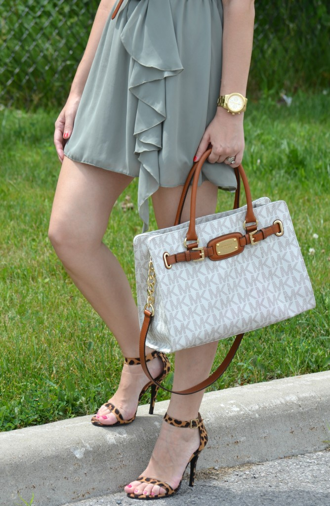 White Purse, Short Dress, Gold Watch, Brown Belt, Red Nail Polish, High Heels, Leopard Heels, Shoes, Pumps