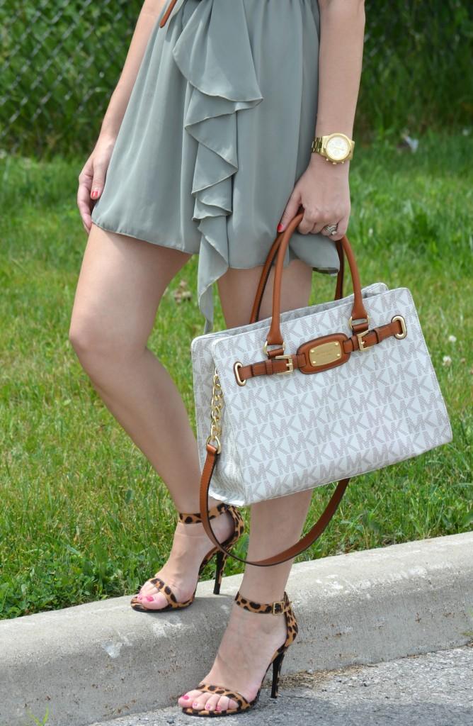 White Purse, Short Dress, Gold Watch, Brown Belt, Red Nail Polish, High Heels, Leopard Heels, Shoes, Pumps