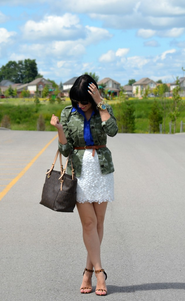 le chateau blouse, gap jacket, lepoard heels, printed shoes, high heels, gold watch