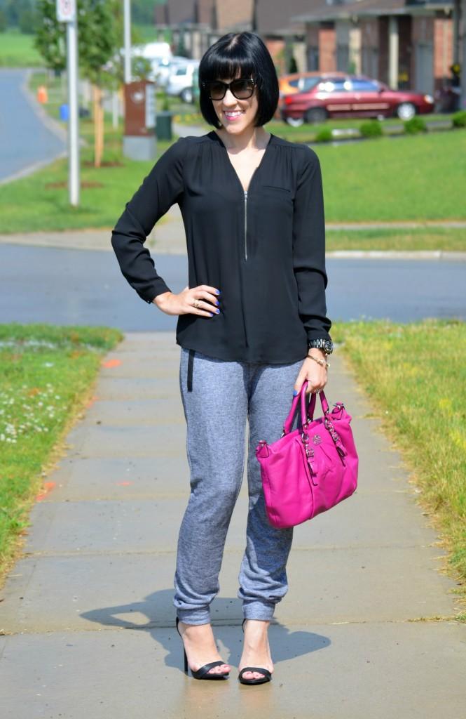 Canadian Fashion Blogger, Fashionista, stilettos, blouse, v-neck, black sunglasses, jogging pants, black heels