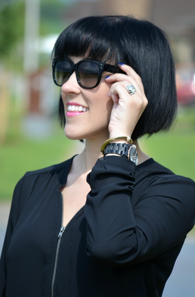 Sunglsses, sunnies, coach, black sunglasses, blue nail polish, pink lipstick, short hair, bob cut, black hair