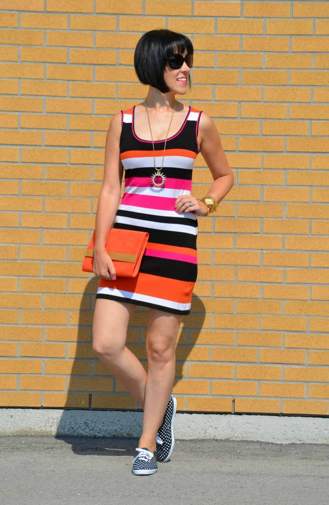 H&M dress, cocoa jewelry, cocoa jewelry necklace, guess watch, gold watch, striped dress, colour block dress, keds, polka dots