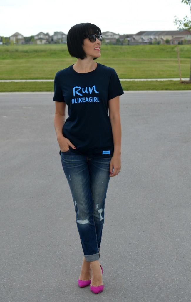 #LIKEAGIRL, Always, t-shirt, tee, boyfriend jeans, Gap Jeans, The Gap, The Bay, Coach Sunglasses, Sunnies