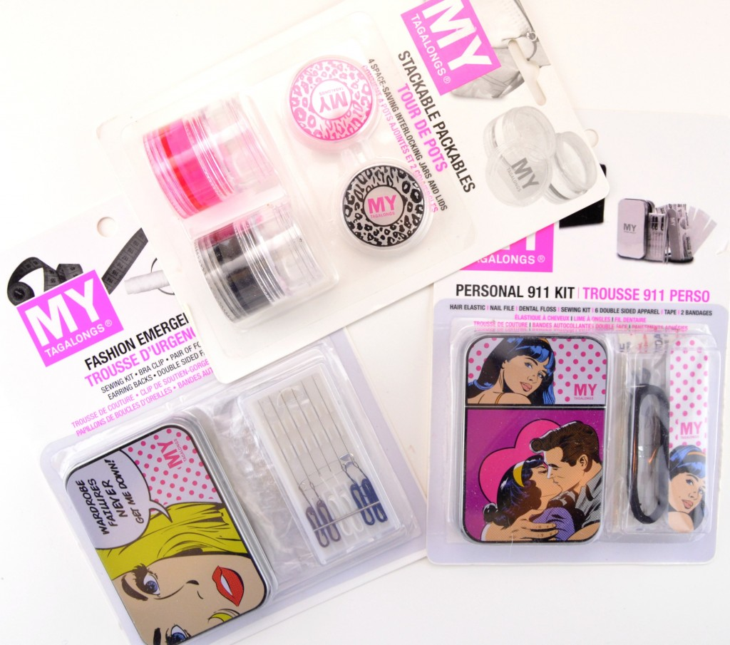 Fashion Emergency Kit, double sided tape, foot cushions, sewing kit, needle and thread, safety pins, buttons