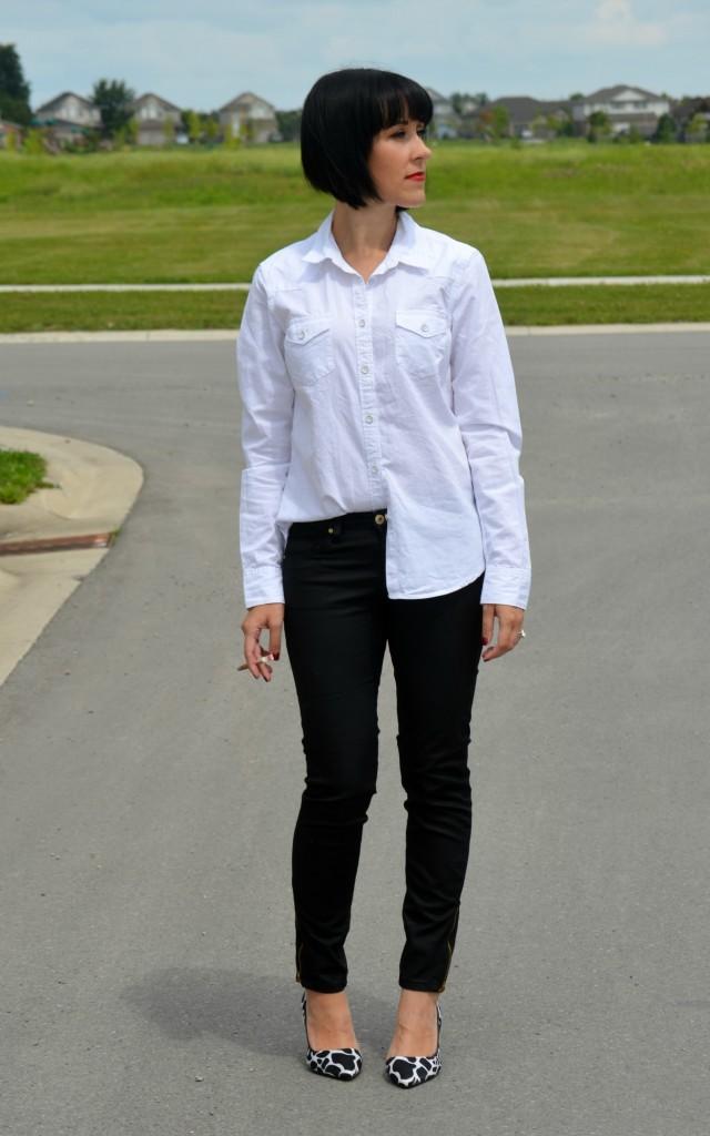 White blouse, black pants, Smart Set, The Gap, The Bay, heels, pumps, black heels, black shoes