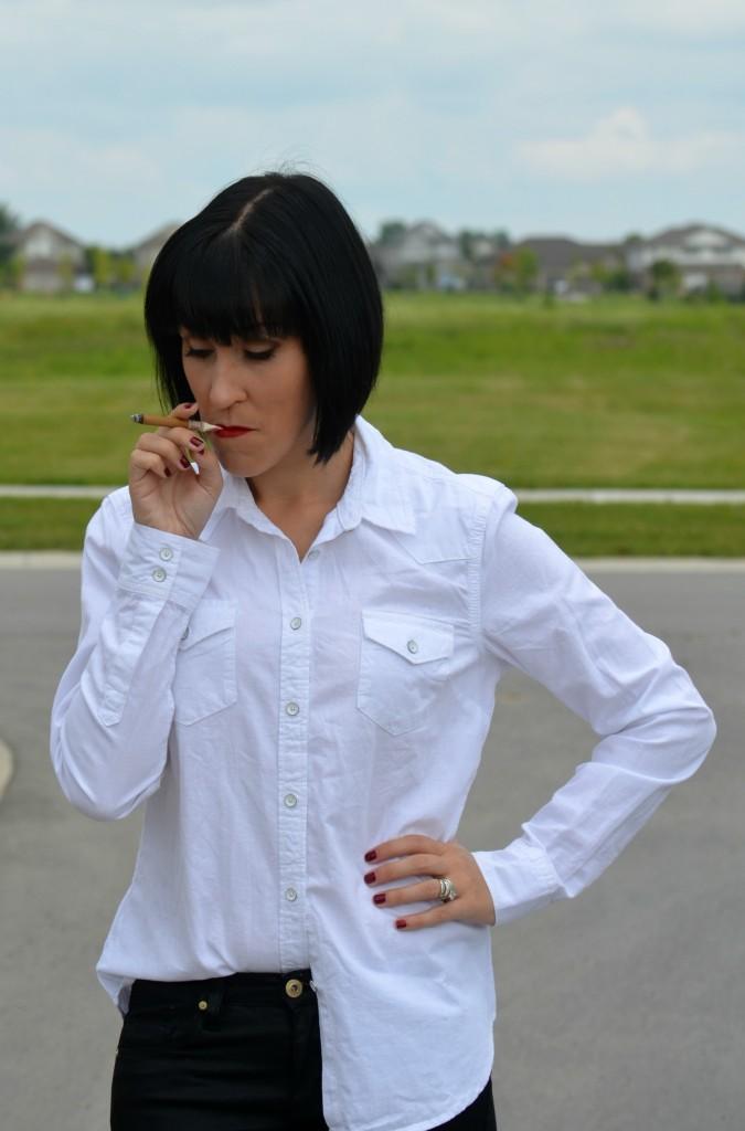 Sexy lady, girl smoking, smoking, hot chick, bold lip, red lip, white shirt, dress shirt, short hair