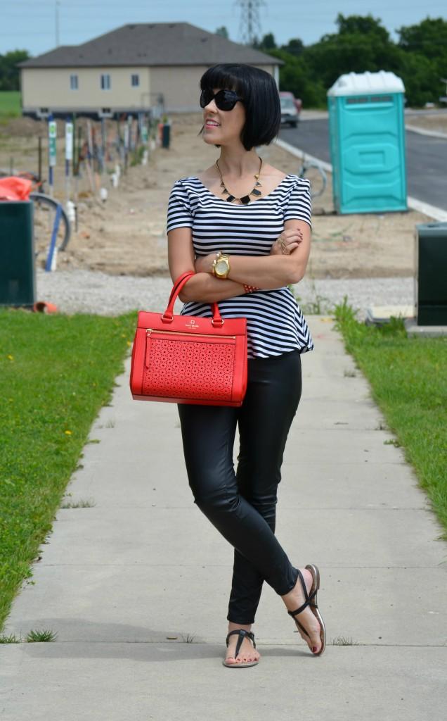 H&M Top, H&M, Faux Leather Pants, Leather, Kate Spade, Kate Spade Purse, Red Handbag, oakley sunglasses, target sandals
