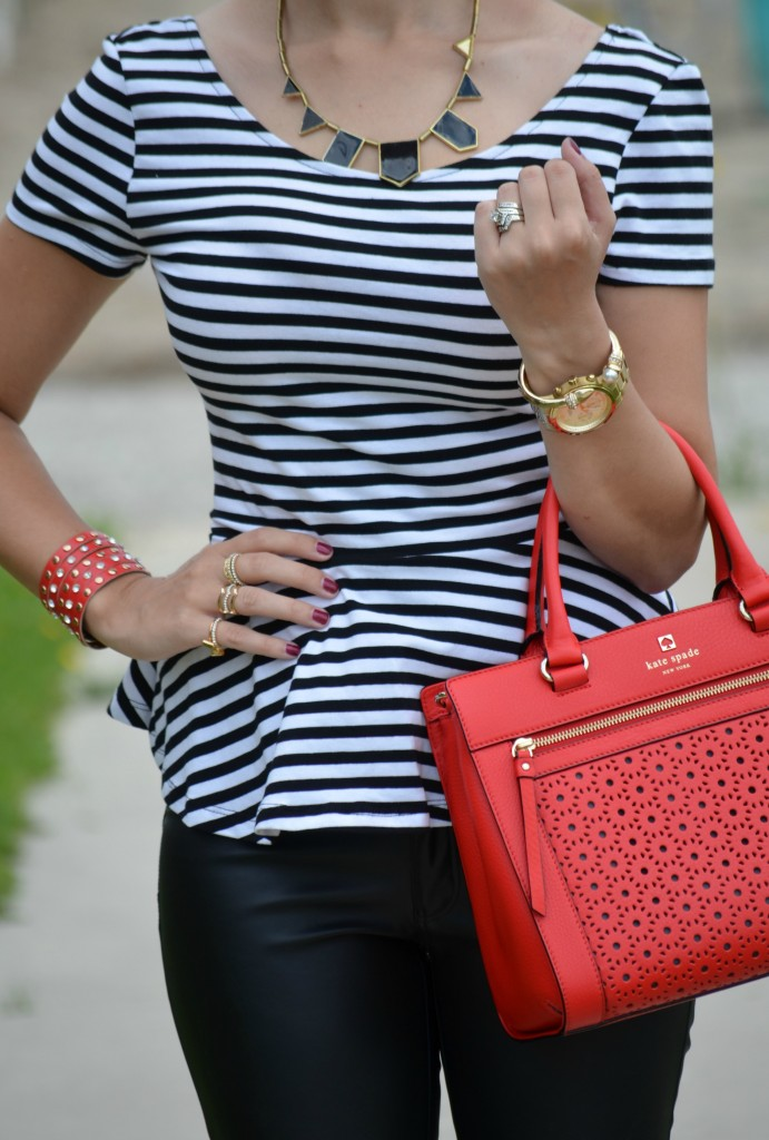 Guess Watch, Gold Watch, Red Purse, Leather handbag, house of harrlow, black necklace, smart set, h&M
