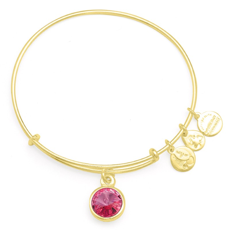 Alex and Ani birthstone, october birthday, pink stone, october charm, birthstone bracelet, bangle