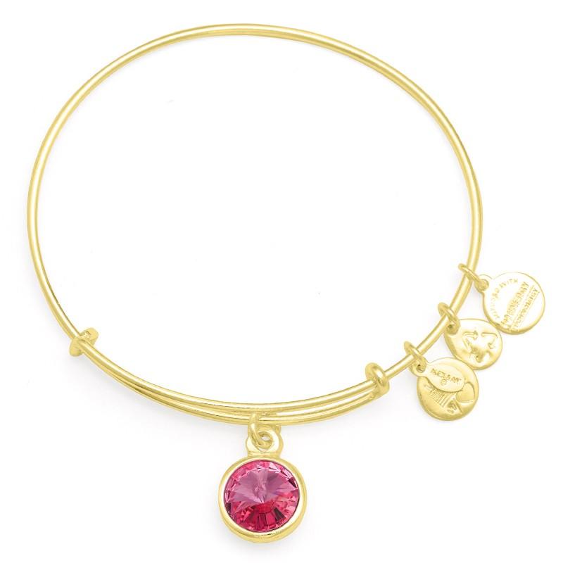 Alex and Ani birthstone, october birthday, pink stone, october charm, birthstone bracelet, bangle