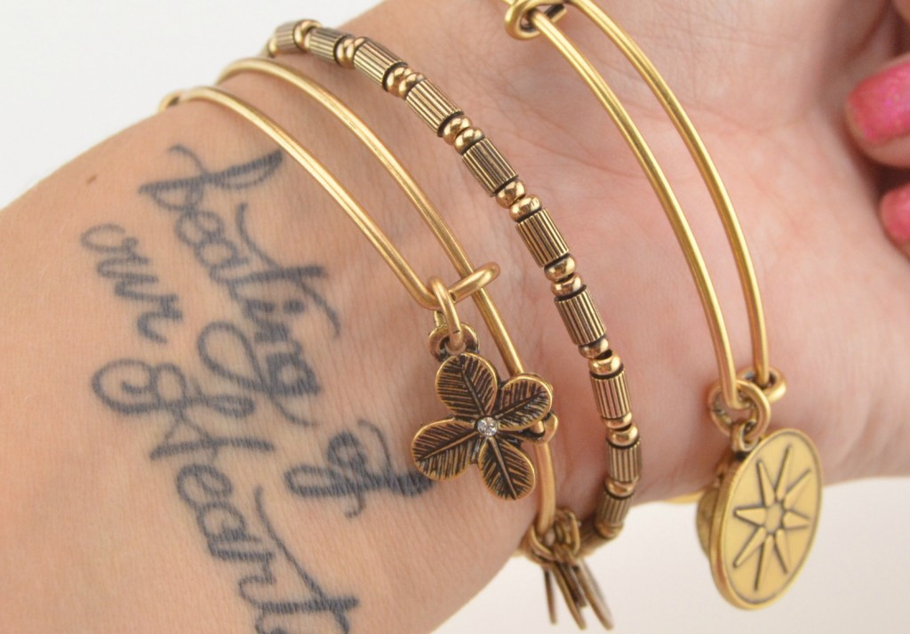 Alex and Ani, Positive Energy, Bangles, gold bracelets, Star of Venus, charm bracelet, The Bay, Clover Charm, Tigris Beaded, bangle