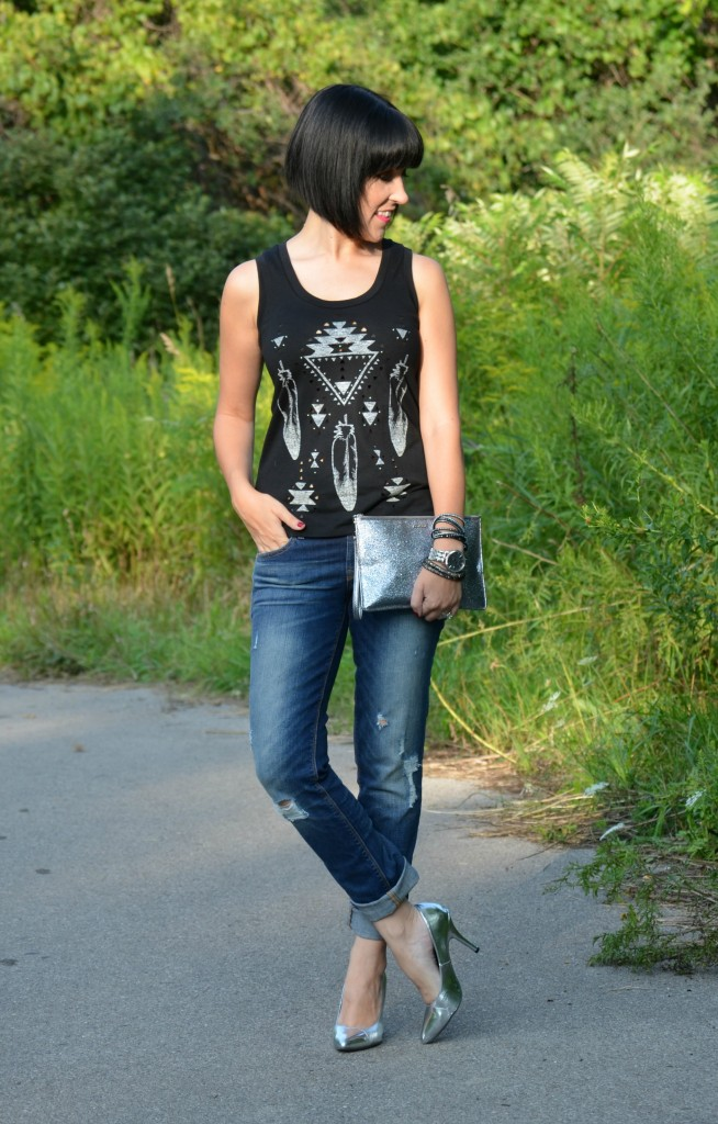 What I Wore, Tank Top, Express, Bracelets, Swarovski, Watch, Caravelle New York, Boyfriend Jeans, The Gap, Silver Pumps