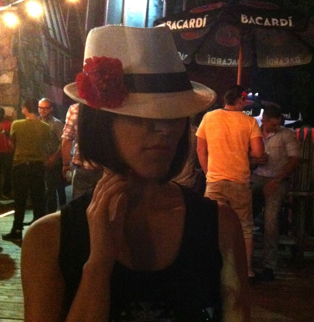 Fedora, Red Flower, short hair