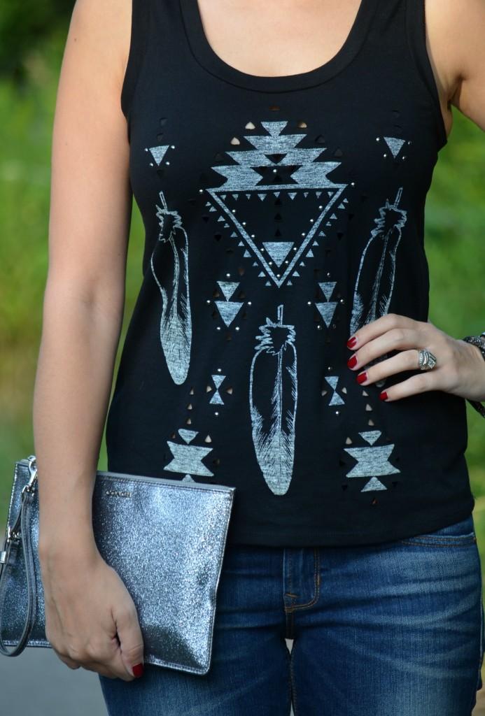 Black Tank Top, Silver Detail, Express Shirt, Boyfriend Jeans, Skinny Jeans, The Gap Jeans, silver watch, blogger