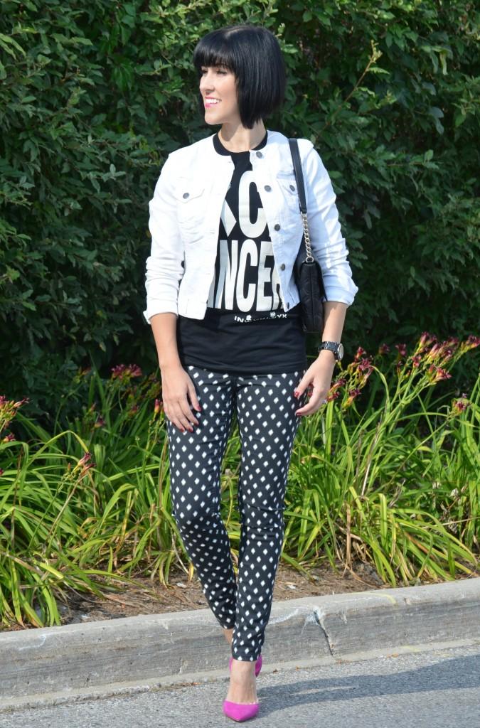 Kate Spade, Kate Spade Purse, Pink Shoes, Black and white pants, Jeans, Black Denim, hot pink, black jacket, white tee