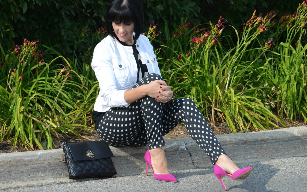 Watch, Guess, Polka Dot Pants, H&M, H&M Pants,  Ivanka Trump Stilettos, The Bay, Ivanka Trump, high heels, pink pumps