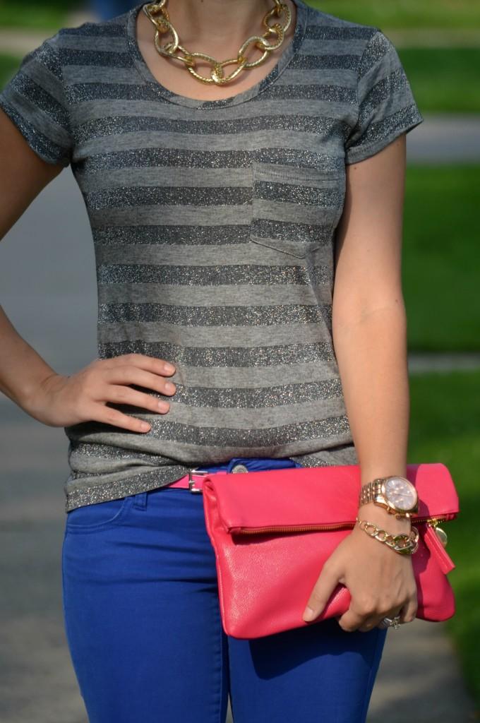 sparkly tee, grey t-shirt, michael kors watch, rose gold watch, michael kors, pink belt, H&M belt, H&M