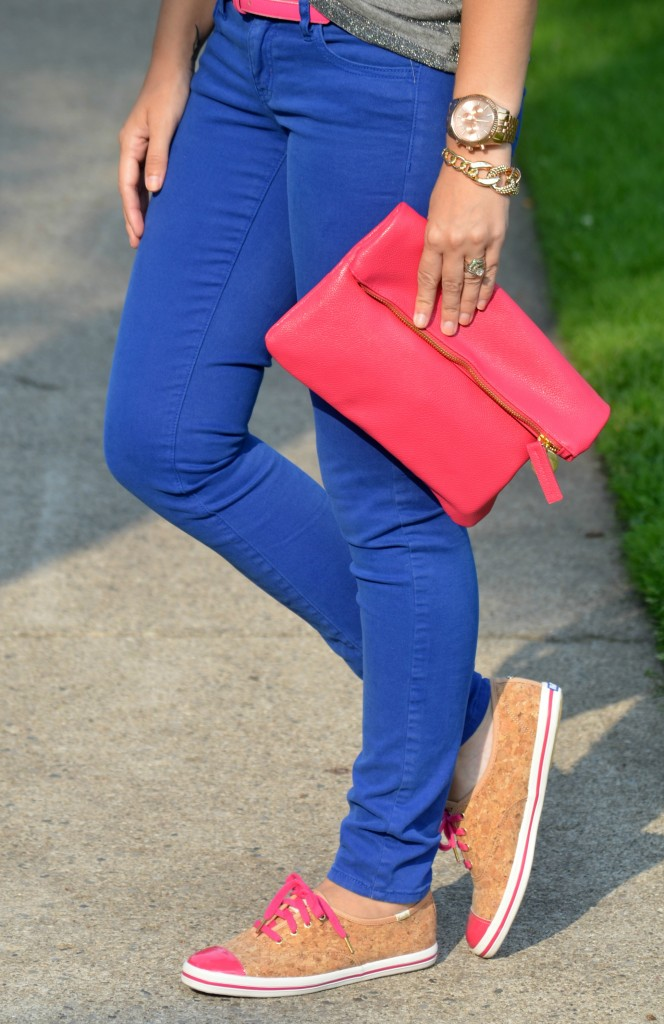 The Red Bow, gold bracelet, chain bracelet, shimmery, pink shoes, cork sneakers, blogger, canadian fashionista