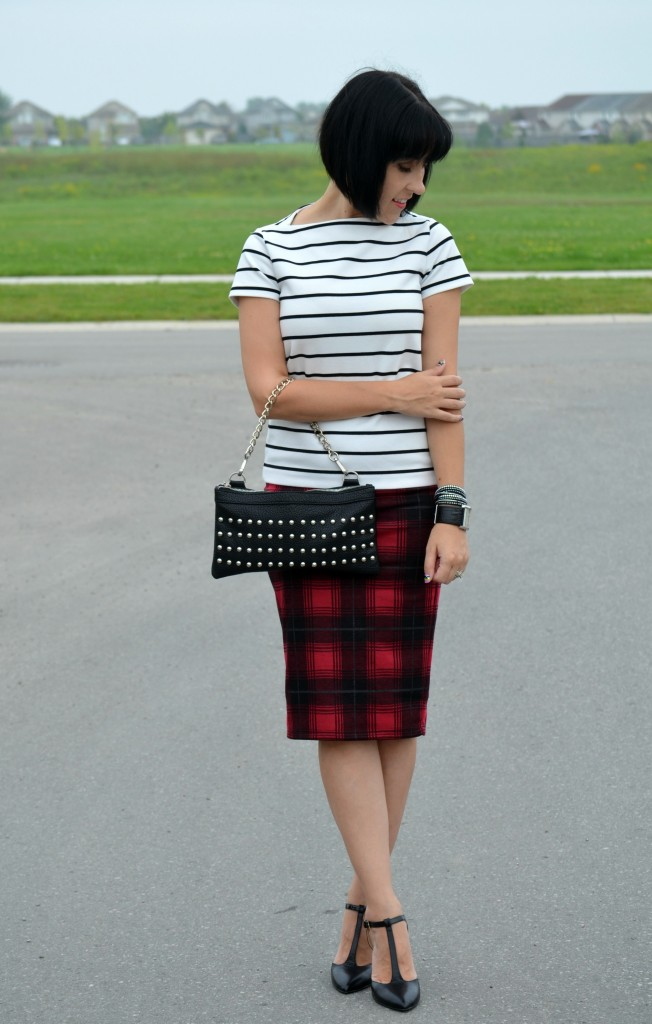 What I Wore, Striped Top, Joe Fresh, Nella Bella Purse, Smart Set, Skirt, Nine West Pumps, Heels, Black heels, guess watch