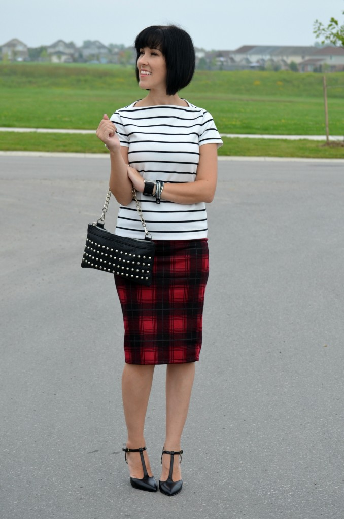 Joe Fresh Blouse, Nella Bella Handbag, Smart Set Skirt, Plaid Skirt, Pumps, Nine West, High Heels, black shoes, guess, black watch