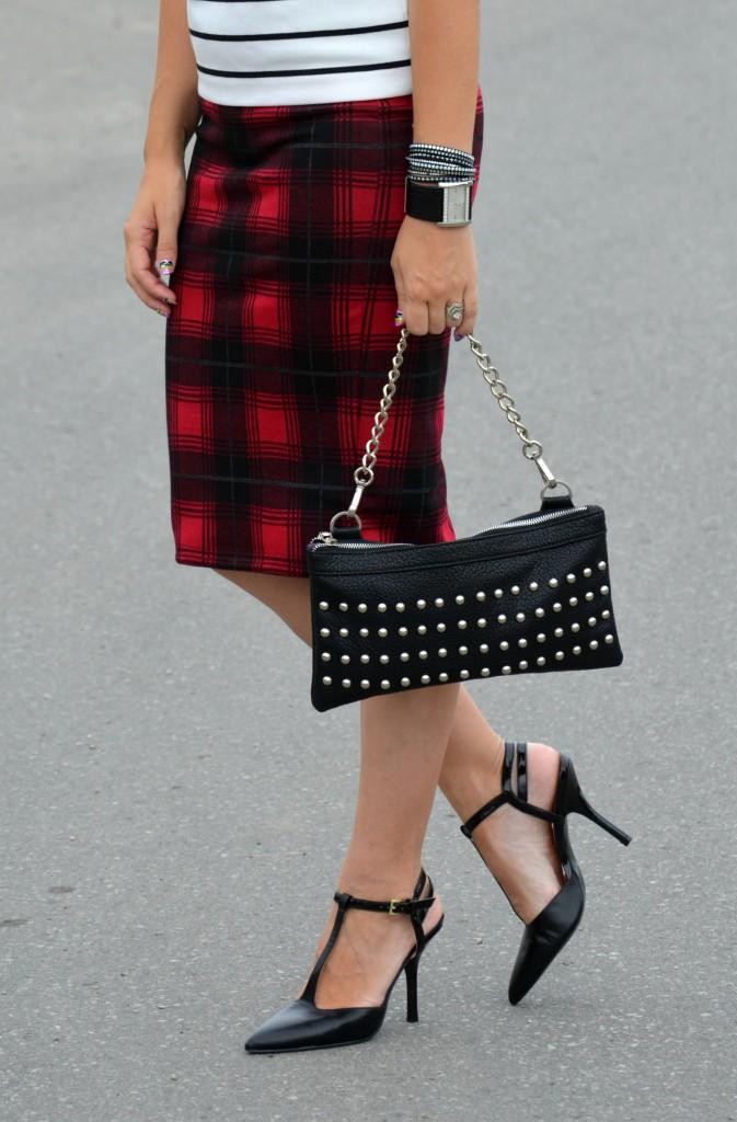 Joe Fresh Blouse, Nella Bella Handbag, Smart Set Skirt, Plaid Skirt, Pumps, Nine West, High Heels, black shoes, guess, black watch