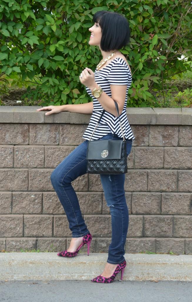 H&M Top, Peplum, Cocoa Jewelry Necklace, Target Necklace, Michael Kors Watch, Kate Spade Purse, Black handbag, Skinny Jeans, Smart Set Jeans, Town Shoes Pump