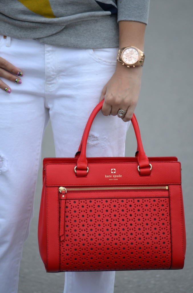 Kate Spade Purse, Michael Kors Watch, White Boyfriend Jeans, The Gap Jeans, Heels, White Pumps, Target Collab, Sweatshirt
