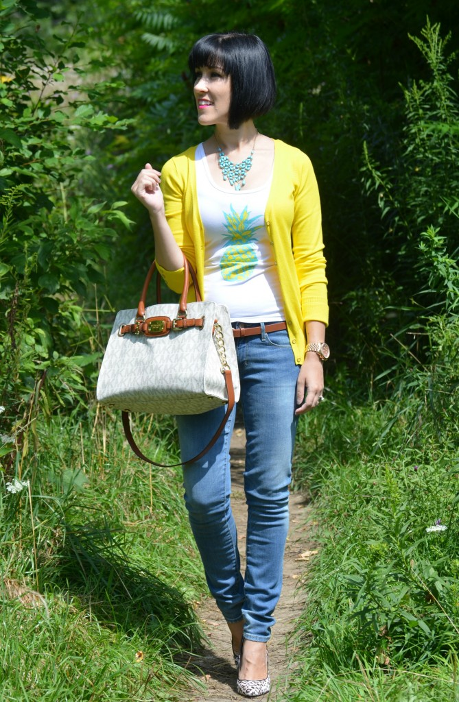 Pineapple Tee, Style Lately, Purse, Michael Kors, Cardigan, Dynamite, Necklace, H&M, Watch,