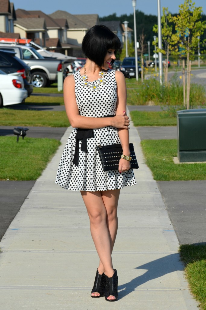 Polka Dot, Dress, Black and white, cocoa jewelry, flower necklace, dsw, black booties, nella bella, black purse